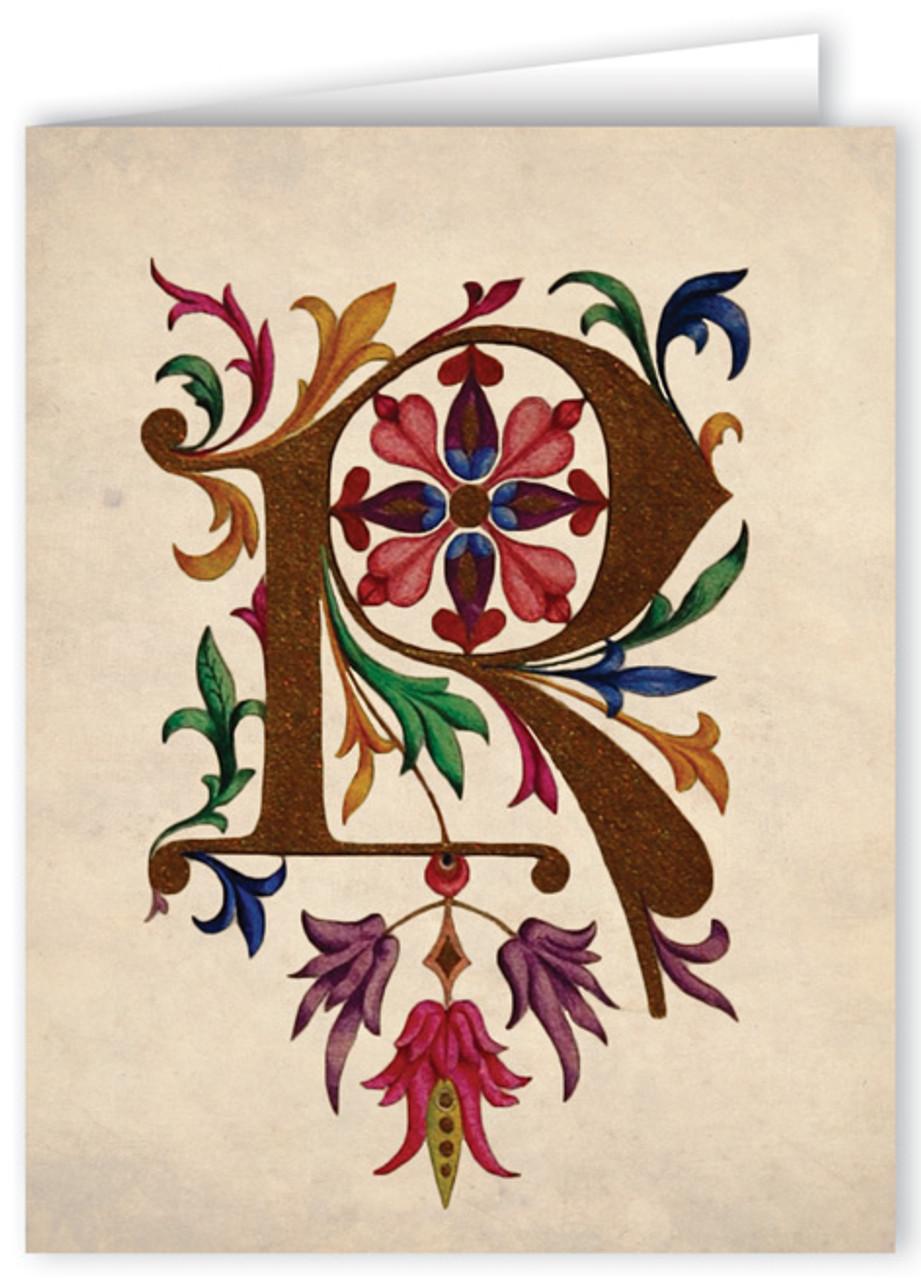 Illuminated manuscript letter M on stone tile