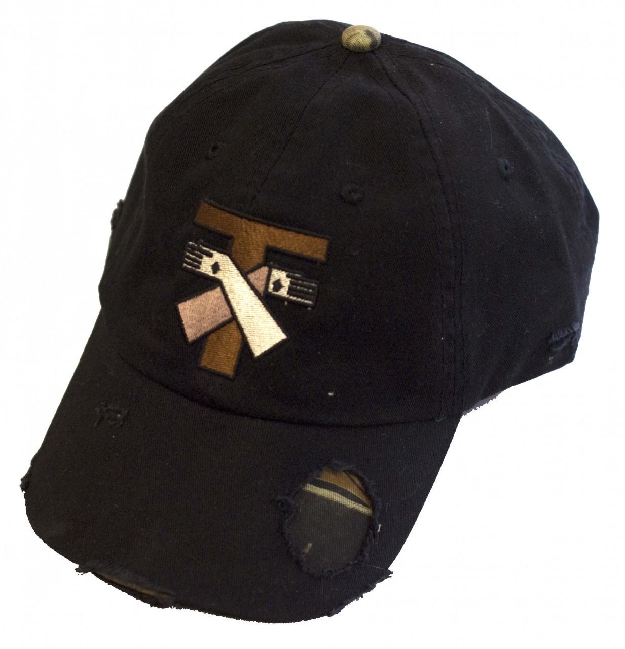 2c3c761e1c6 Jesus and St. Francis Tau Cross Distressed Black Hat - Catholic to ...