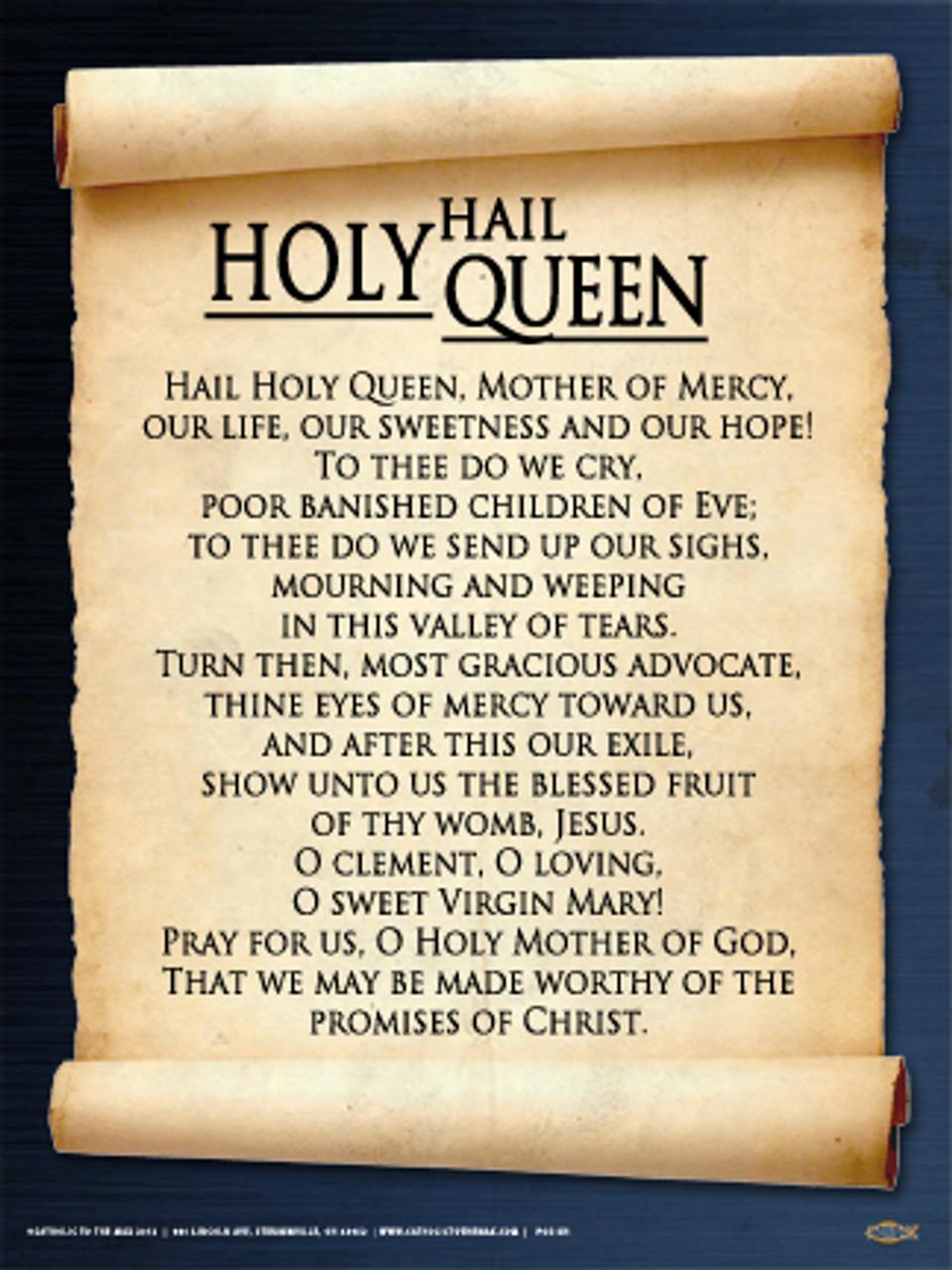 photograph regarding Hail Holy Queen Prayer Printable known as Hail Holy Queen Poster