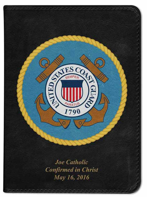 Personalized Catholic Bible with Coast Guard Cover - Black RSVCE
