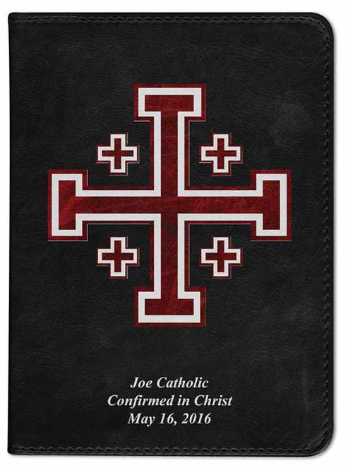 Personalized Catholic Bible with Cross of Jerusalem (Crusader) Cover - Black RSVCE