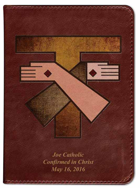 Personalized Catholic Bible with Franciscan Crest Cover - Burgundy RSVCE