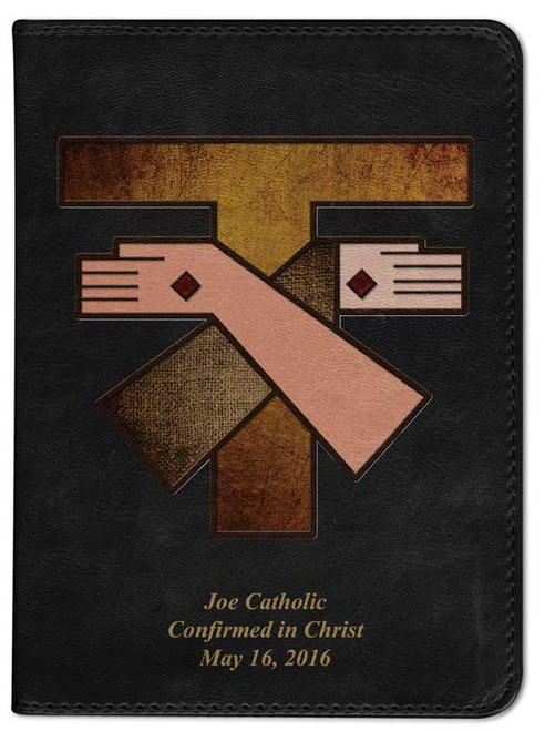 Personalized Catholic Bible with Franciscan Crest Cover - Black RSVCE