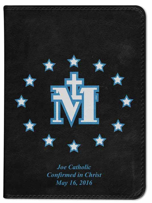 Personalized Catholic Bible with Miraculous Medal Cover - Black RSVCE