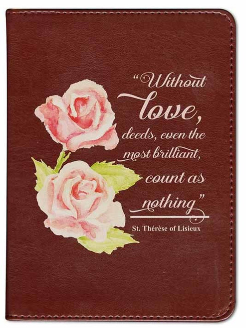 Personalized Catholic Bible with St. Therese Rose Cover - Burgundy RSVCE
