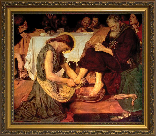 Christ Washing the Feet of the Apostles by Brown - Gold Framed Art