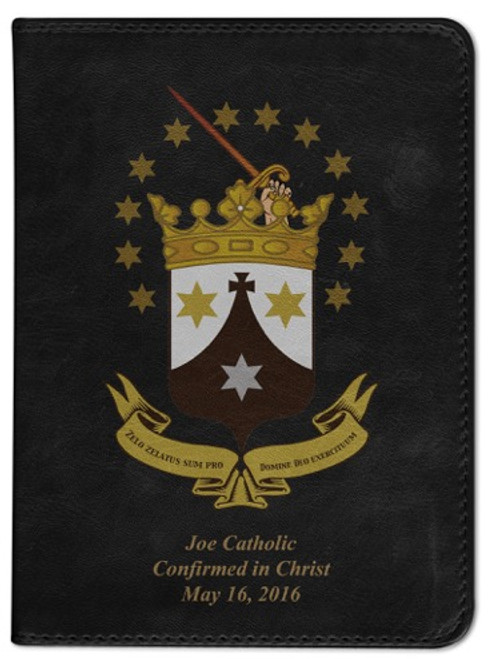 Personalized Catholic Bible with Discalced Carmelite Crest Cover - Black RSVCE