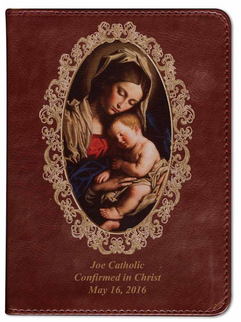 Personalized Catholic Bible with Madonna and Her Child Cover - Burgundy RSVCE