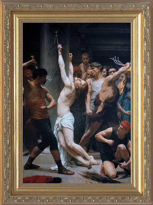 The Flagellation of Christ by Bouguereau - Ornate Gold Framed Art
