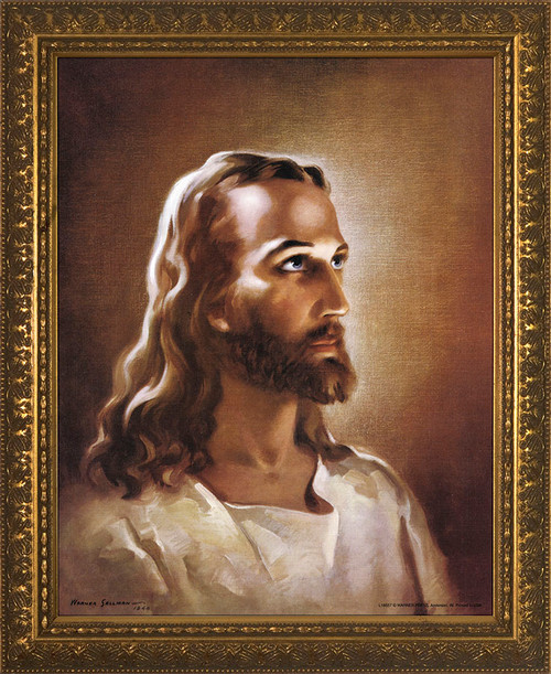 Head of Christ - Gold Framed Art