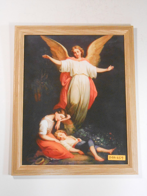 CLEARANCE Guardian Angel with Children Resting 10x13 Framed Print