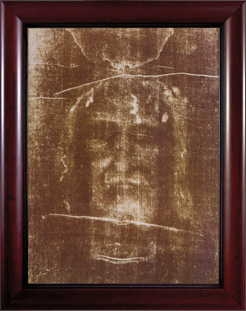 Shroud of Turin Framed Art - Cherry Frame