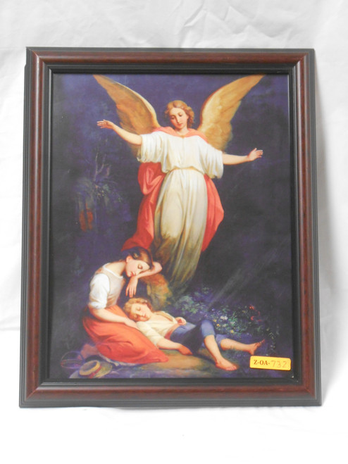 Guardian Angel with Children Resting 11x13 Dark-Framed Print