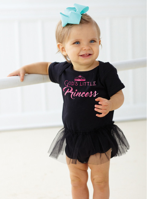 God's Little Princess Black Baby Onesie Tutu
