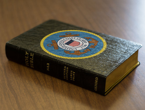 Personalized Catholic Bible with Coast Guard Cover - Black Genuine Leather NABRE
