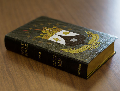 Personalized Catholic Bible with Ancient Carmelite Crest Cover - Black Genuine Leather NABRE