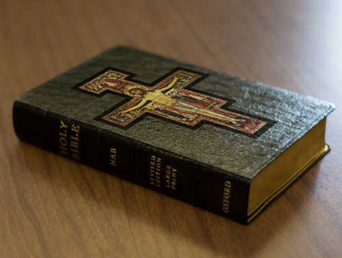 Personalized Catholic Bible with San Damiano Cross Cover - Black Genuine Leather NABRE