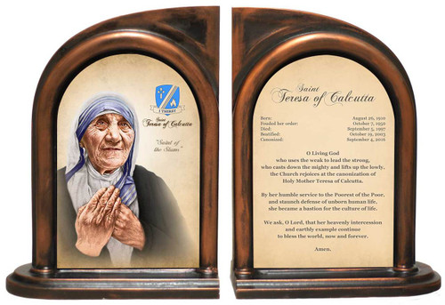 St. Teresa of Calcutta Prayer Commemorative Bookend