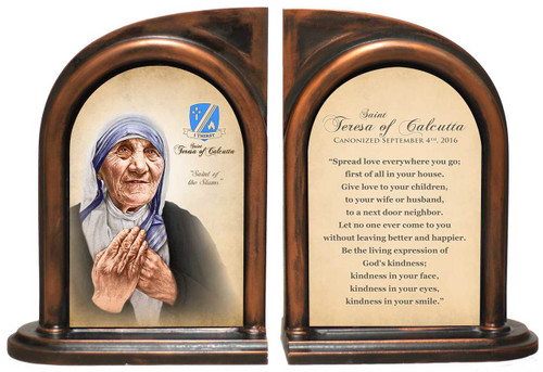 St. Teresa of Calcutta Quote Commemorative Bookend