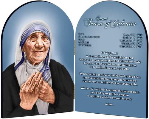 St. Teresa of Calcutta Arched Prayer Diptych