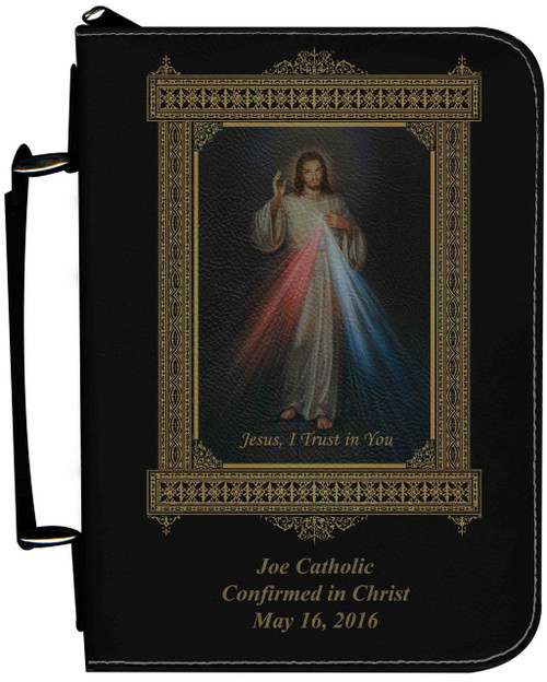 Personalized Bible Cover with Divine Mercy Graphic - Black