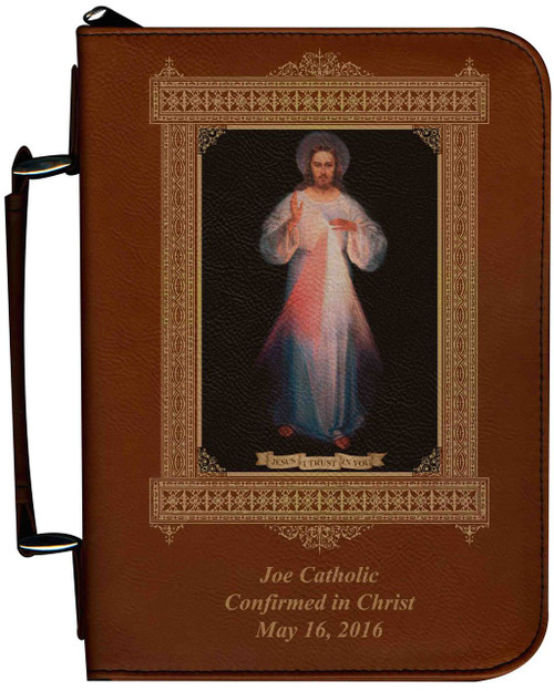 Personalized Bible Cover with Divine Mercy Vilnius Original Graphic - Tawny