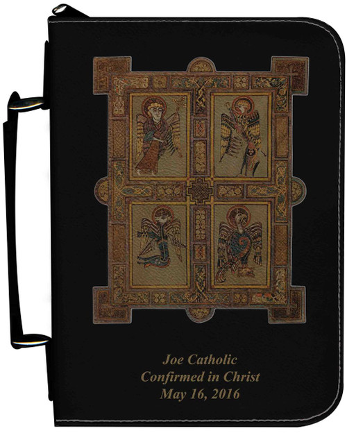 Personalized Bible Cover with Book of Kells Graphic - Black