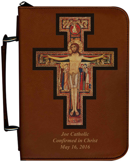 Personalized Bible Cover with San Damiano Cross Graphic - Tawny
