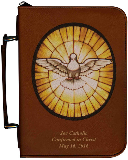 Personalized Bible Cover with Stained Glass Dove Graphic - Tawny
