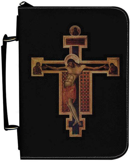 Personalized Bible Cover with Byzantine Crucifix Graphic - Black