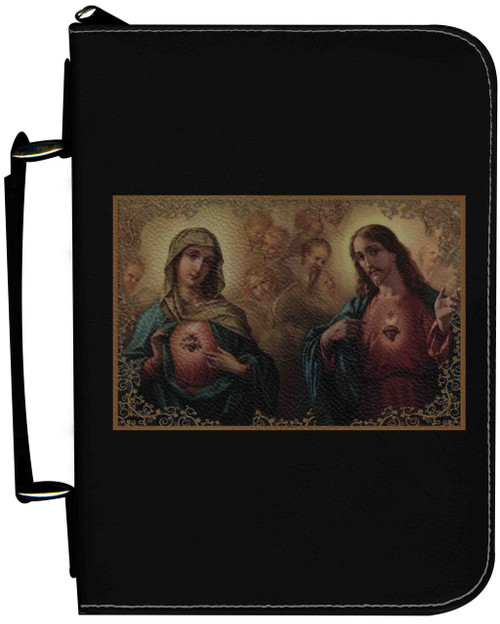 Personalized Bible Cover with Sacred and Immaculate Hearts Graphic - Black