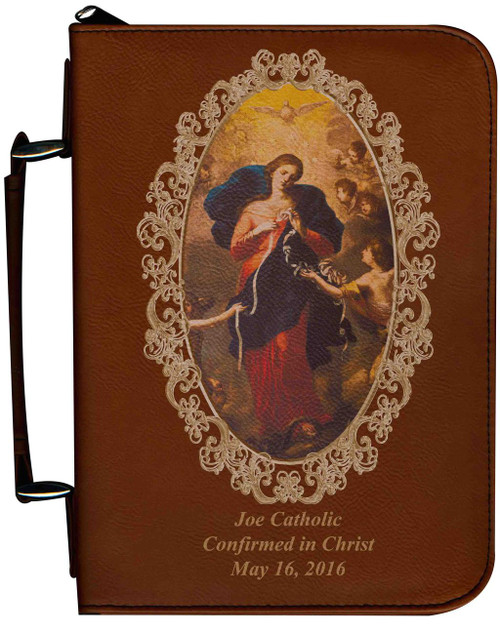 Personalized Bible Cover with Mary Undoer of Knots Graphic - Tawny