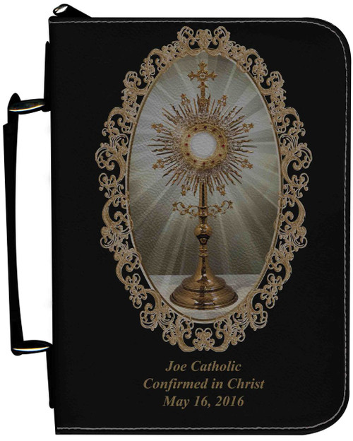 Personalized Bible Cover with Monstrance Graphic - Black