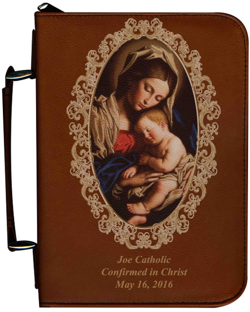 Personalized Bible Cover with Madonna and Her Child Graphic - Tawny