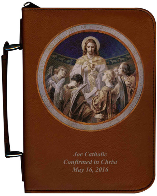 Personalized Bible Cover with Christ, Bread of Angels Graphic - Tawny
