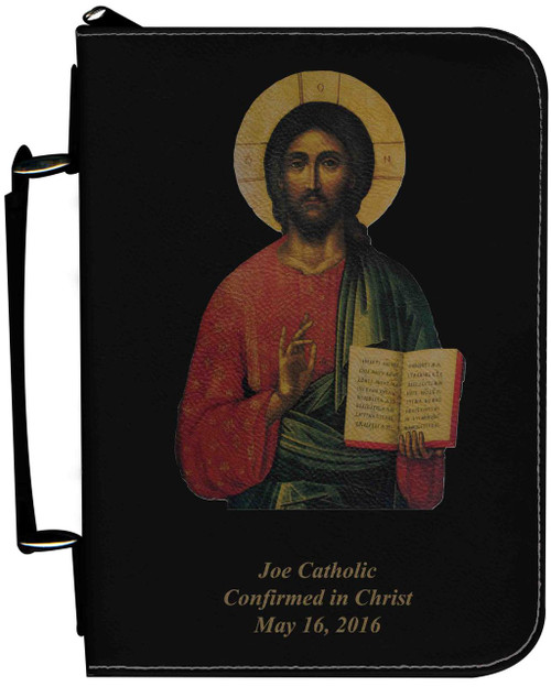 Personalized Bible Cover with Christ the Teacher Icon Graphic - Black