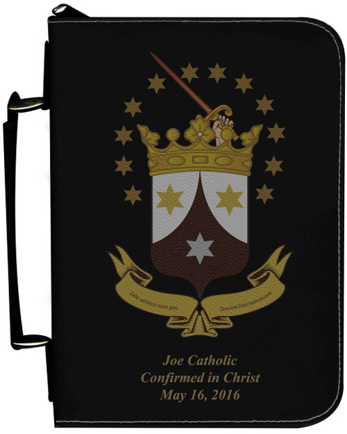 Personalized Bible Cover with Ancient Carmelite Crest Graphic - Black