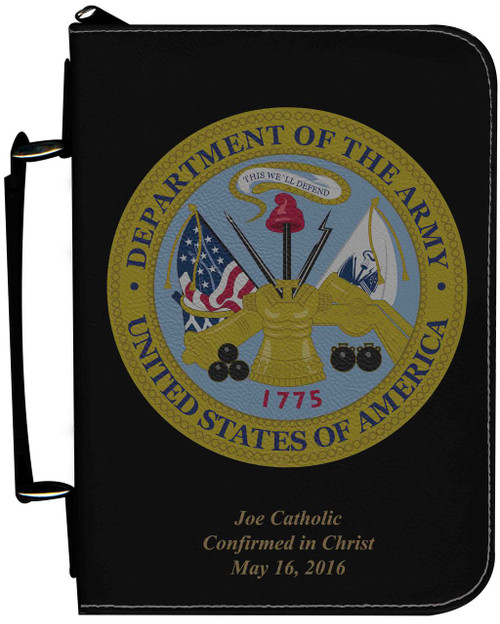 Personalized Bible Cover with Army Graphic - Black