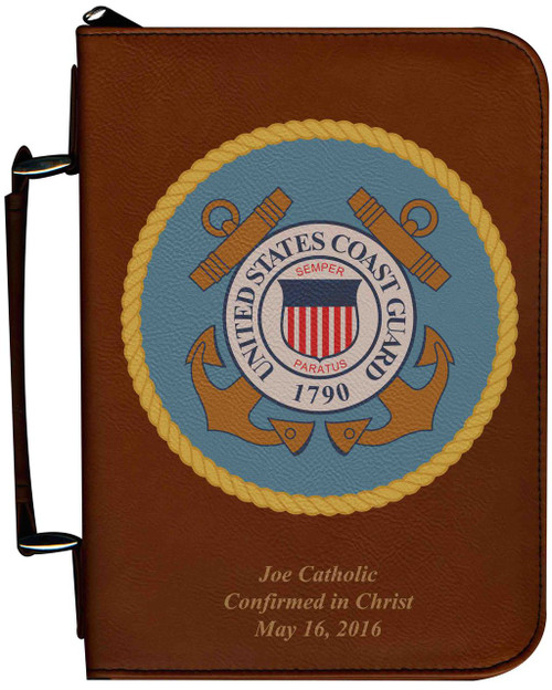 Personalized Bible Cover with Coast Guard Graphic - Tawny