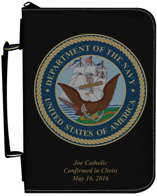 Personalized Bible Cover with Navy Graphic - Black