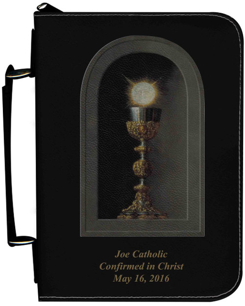 Personalized Bible Cover with Eucharistic Graphic - Black