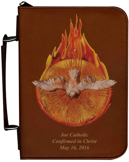 Personalized Bible Cover with Holy Spirit Fire Graphic - Tawny