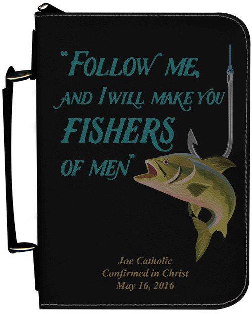 Personalized Fisherman's Bible Cover Graphic - Black