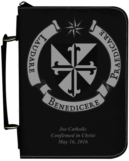 Personalized Bible Cover with Dominican Shield Graphic - Black