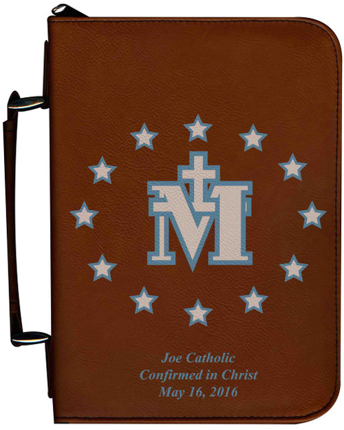 Personalized Bible Cover with Miraculous Medal Graphic - Tawny