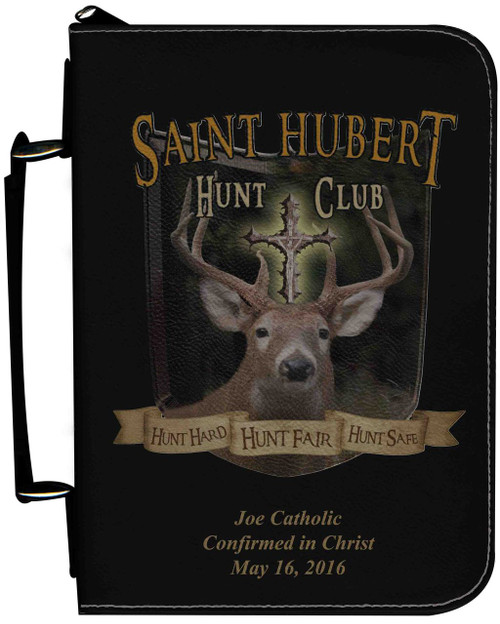 Personalized Hunter Bible Cover with St. Hubert Graphic - Black