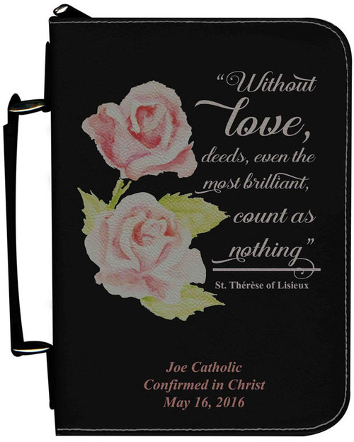 Personalized Bible Cover with St. Therese Rose Graphic - Black
