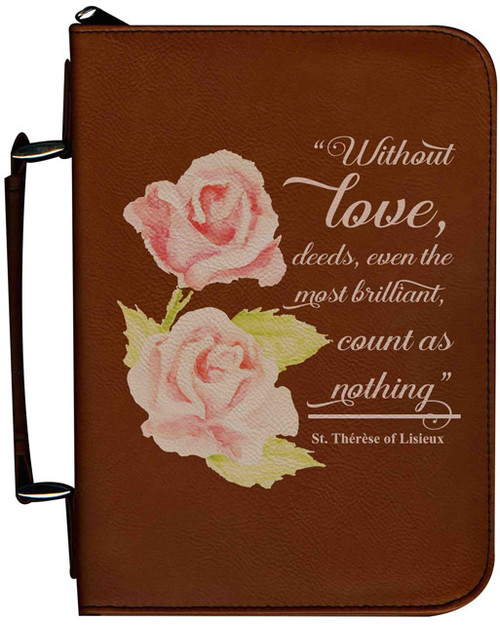 Personalized Bible Cover with St. Therese Rose Graphic - Tawny