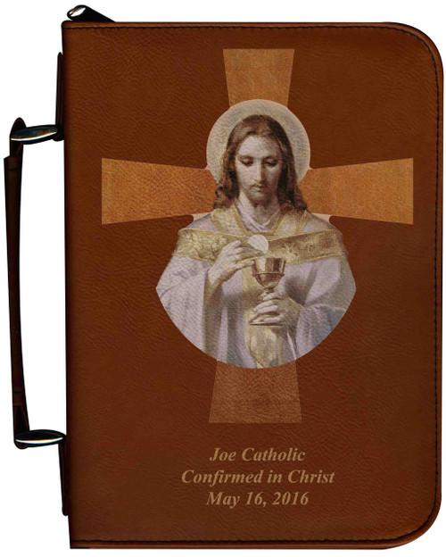 Personalized Bible Cover with Bread of Angels Cross Graphic - Tawny