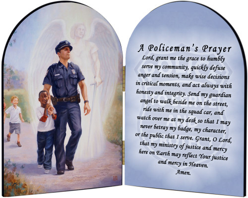 The Protector: Police Guardian Angel Arched Diptych with Policeman's Prayer